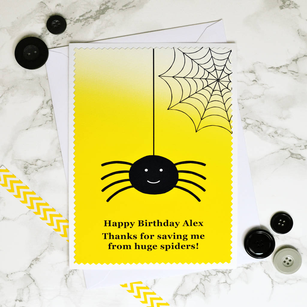 Large A5 Personalised Birthday Card Spider Catcher