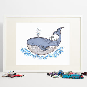 Whale Print - children's pictures & paintings