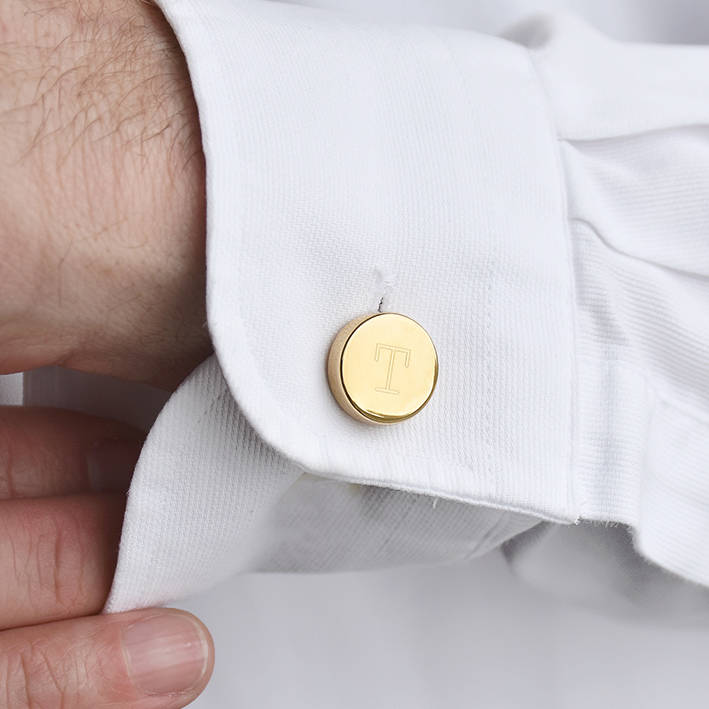 monogram personalised button cover cufflinks by ellie ...