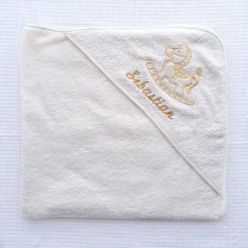 Personalised Ivory Hooded Towel With Horse
