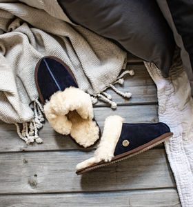 Navy Sheepskin And Suede Slippers