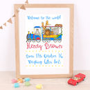 Children's Blue Train Personalised Print