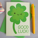 Kawaii Lucky Four Leaf Clover 'Good Luck' Card