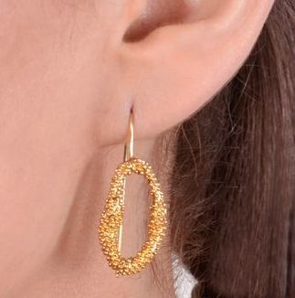 Gold Plated Textured Cluster Of Balls Earrings