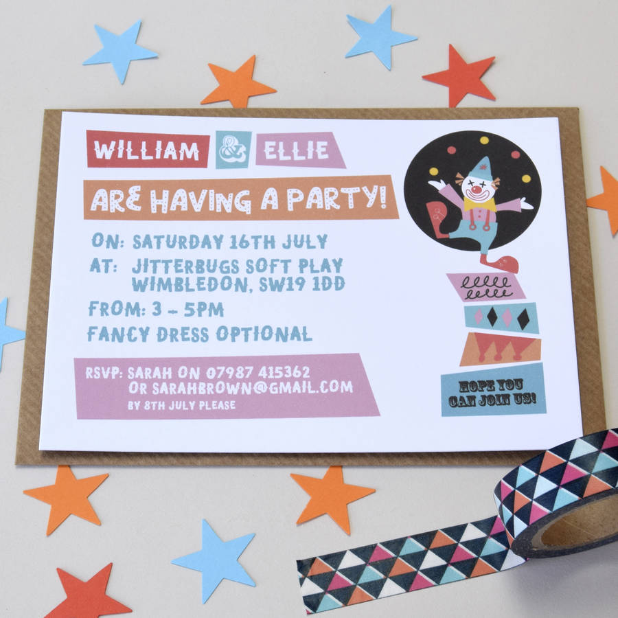 pack of personalised clown party invitations by little ink