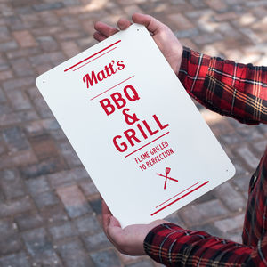 Personalised Bbq And Grill Metal Sign - gifts for grandparents