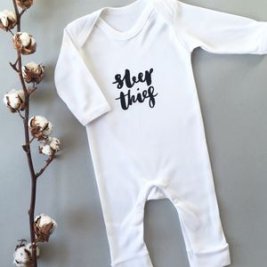 Monochrome Sleep Thief Baby Romper