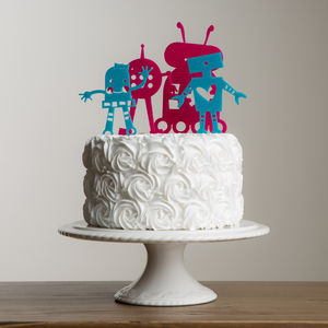 Mini Set Of Four Robot Cake Topper Decorations - kitchen