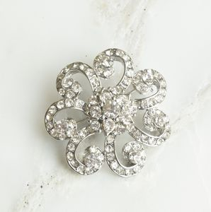 Vintage Inspired Crystal Flower Brooch - pins & brooches