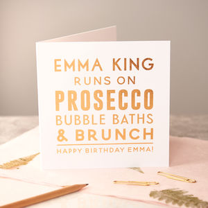 Personalised 'Runs On' Copper Foiled Birthday Card - birthday cards
