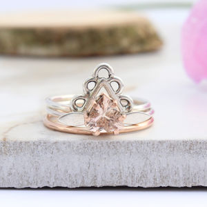 Agape, Dara And Vali Rose Gold Boho Stack Rings - mystical decadence wedding trend
