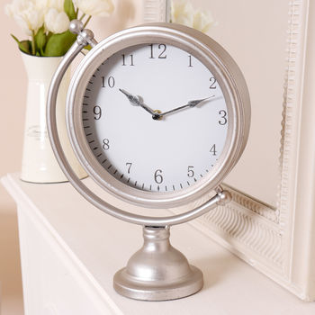 Traditional Pewter Desk Clock