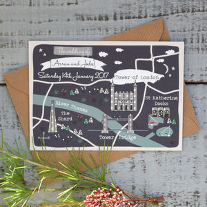 Bespoke Winter Map Wedding Invitation