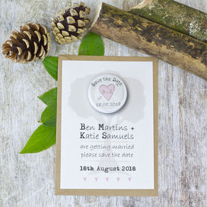 Woodland Hearts Save The Date With Mini Magnet - invitations