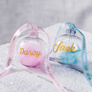 Personalised Babies First Christmas Feather Bauble