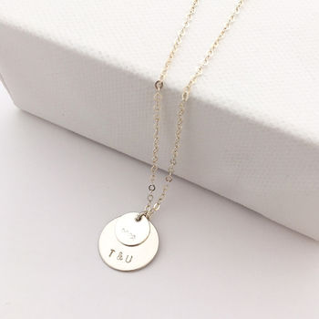 Silver Double Disc Personalised Necklace