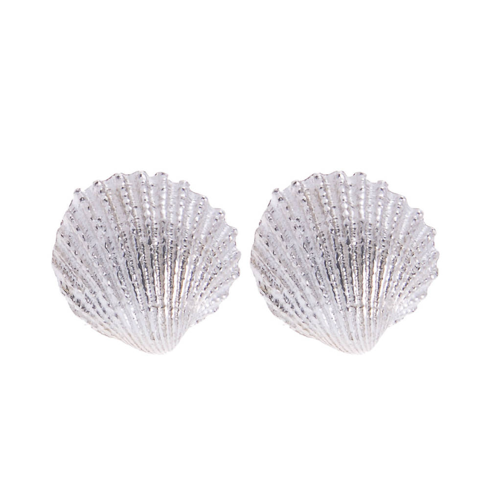 shell jewelry earrings ocean silver bling nautical clam cockle stud seashell pmr az