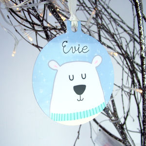 Polar Bear Personalised Christmas Decoration - tree decorations