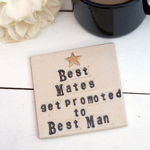 Best Man Ceramic Coaster - be my bridesmaid?