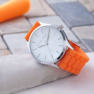 Personalised David Louis Watch With Orange Strap - men's accessories