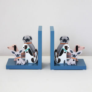 Children's Wooden Dog Bookends