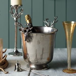 Antiqued Silver Stag Drinks Bucket