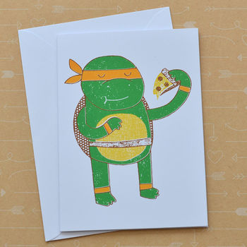 Michelangelo Ninja Turtle Screenprinted Card