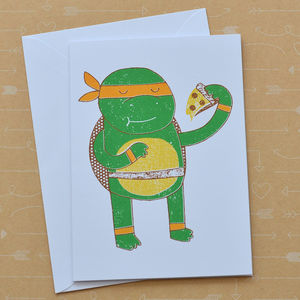 Michelangelo Ninja Turtle Screenprinted Card - all purpose cards