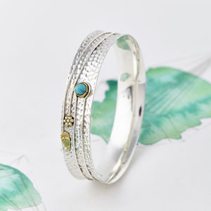 Turquoise Silver Flower Bangle - bracelets & bangles