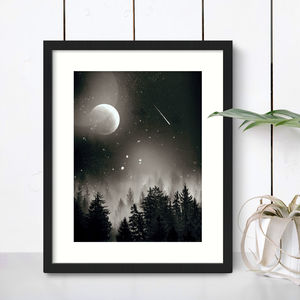 Moon And Forest Night Sky Print