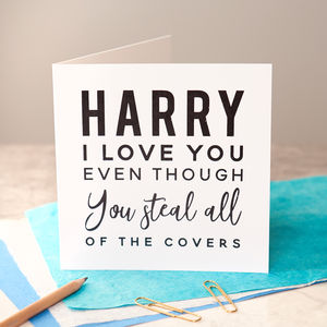 Personalised 'I Love You Even Though' Black Foiled Card - anniversary cards