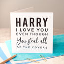Personalised 'I Love You Even Though' Black Foiled Card