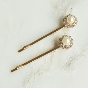Pair Of Rose Gold Pearl Hair Clips - hats, hairpieces & hair clips