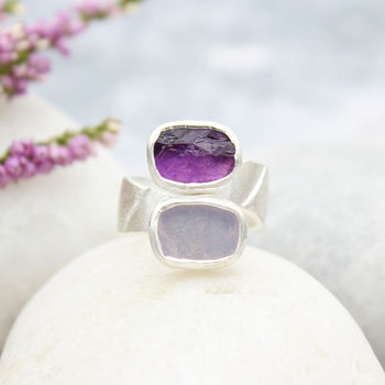 Amethyst And Lilac Quartz Adjustable Chunky Silver Ring
