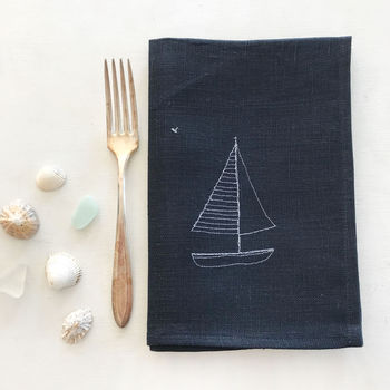 Embroidered Yacht Linen Napkins