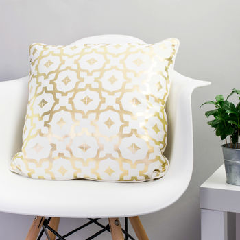 Metallic Cushion In White And Gold