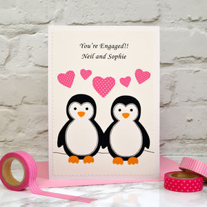 'Penguins' Personalised Engagement Card