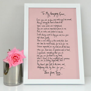 Personalised Grandma Poem Gift - gifts for grandparents