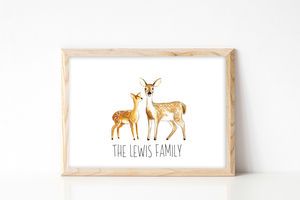 Personalised Family Deer Portrait Print