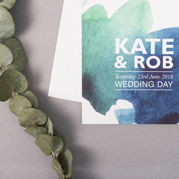 Watercolour Wedding Invitations, Blue And Green
