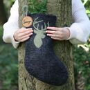 Handmade Grey Stag Wool Christmas Stockings