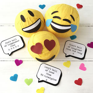 Personalised Emoji Ball Of Happiness, Love And Lolz - decorations