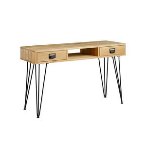 Oak Wood Console Table With Iron Hairpin Legs - dressing tables