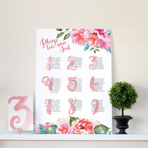 Pink Watercolour Peonies Wedding Seating Chart