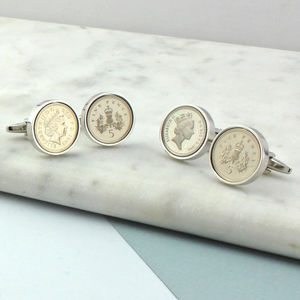 21st Or 18th Birthday Five Pence Cufflinks - personalised