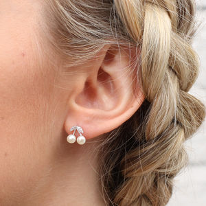 Sterling Silver And Freshwater Pearl Stud Earrings - earrings