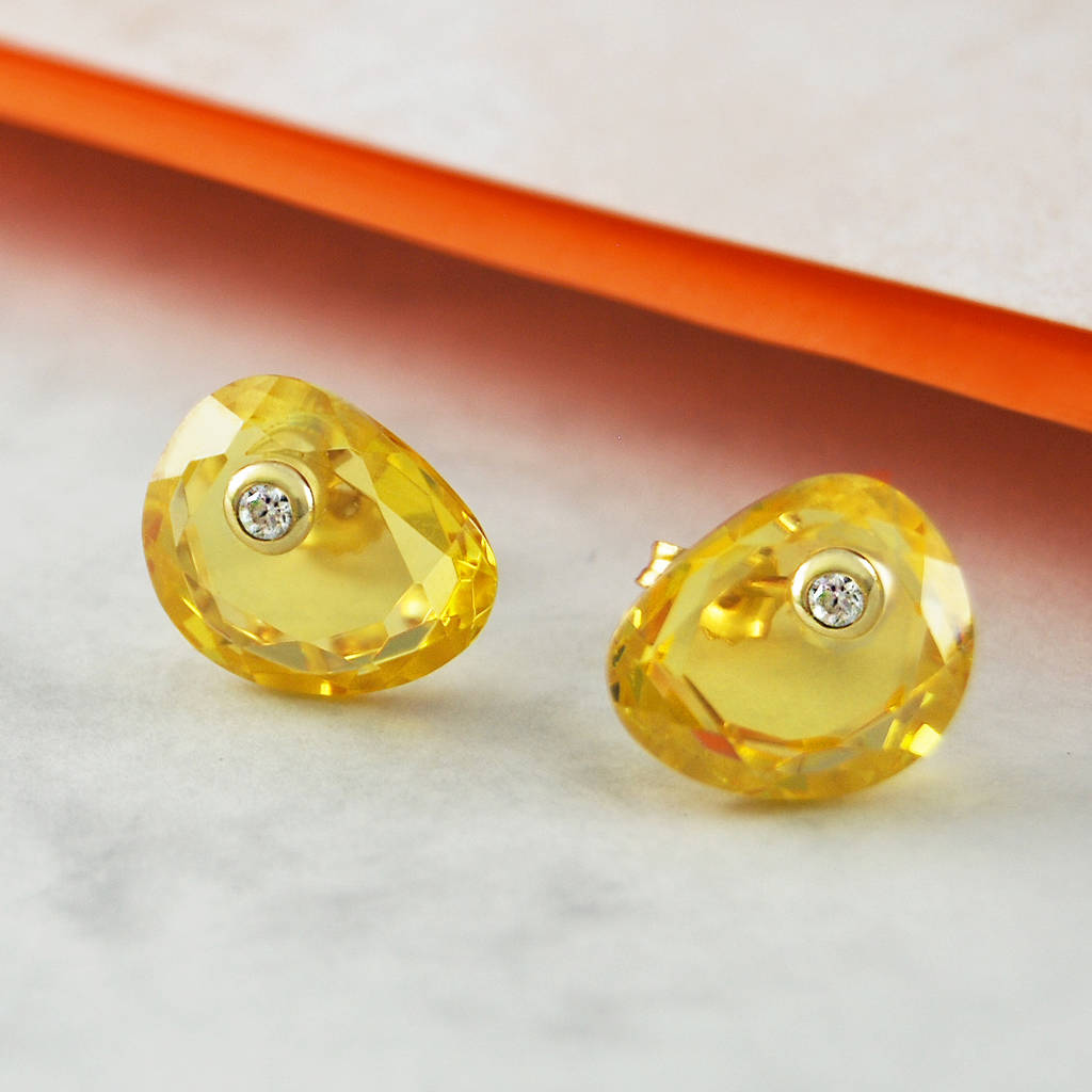 Citrine White Topaz November Birthstone Gold Earrings
