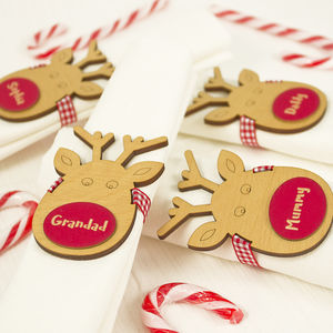 Four Personalised Reindeer Napkin Place Settings - napkins & napkin holders