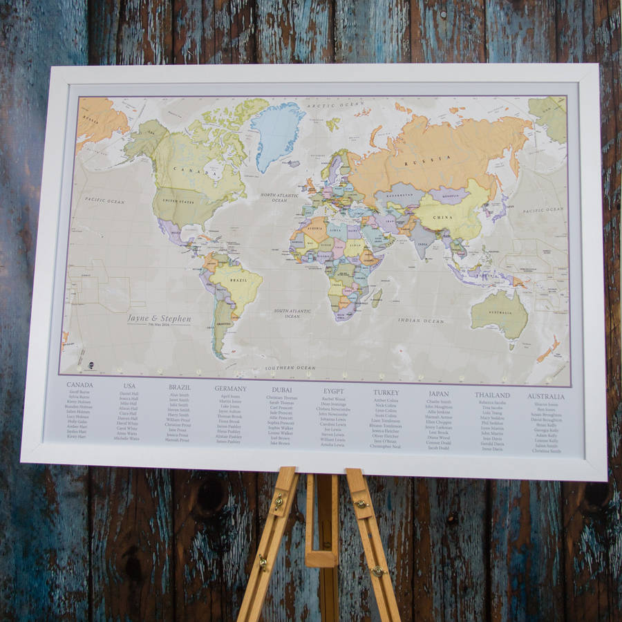 Classic world map wedding table plan by maps international classic world map wedding table plan gumiabroncs Choice Image