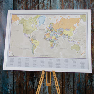 Classic World Map Wedding Table Plan - table decorations